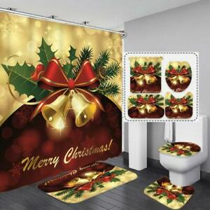 Christmas Bells Polyester Shower Curtain Set Bath Rugs Mat Toilet Seat Cover New