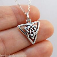 Celtic Trinity Knot Necklace - 925 Sterling Silver - Irish Triquetra Pendant NEW