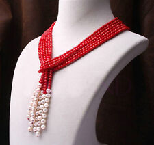Wonderful 4mm red coral and 7-8mm white freshwater pearl necklace 3 strand 50""