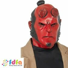 RED HELLBOY OVER HEAD LATEX MASK adults mens halloween fancy dress accessory