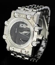 Mens Heavy Silver Tone 48mm Octagon Bezel Hip Hop CZ Bling Rapper Watch