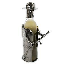 Soporte de botellas vino metal BOMBERO EN PLATA