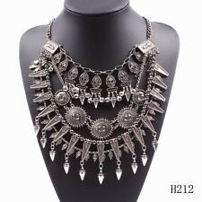 Fashion Vintage Metal Spike Pendant Big Statement Chunky Necklace For Women