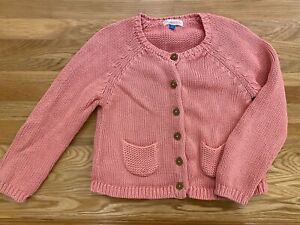 John Lewis CHUNKY KNIT CARDY CARDIGAN AGE 2-3 years GIRLS coral peach PINK