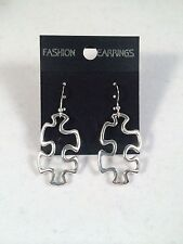 New! Autism Awareness Puzzle Piece Dangle Earrings, Silver, Womens, Gift Girls