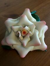 CAPODIMONTE FABAR ITALY White/Pink Flower on Green Leaves w/ Stem