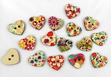 10 bottoni legno cuori dipinti charm 25 mm bigiotteria 2 fori colori misti