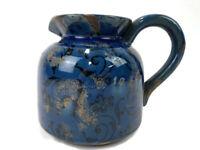 "Handmade Pottery Clay Pitcher Vintage Blue Glazed 6"" Tall 6"" Wide Pot Planter"