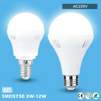 3/5/7/9/12W AC 220V E27 LED Energy Saving Light Bulb Globe Lamp White/Warm White