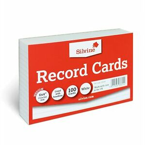 Silvine A6 White Record Cards - Lined with Headline, 100 Cards Per Pack Size 6x4