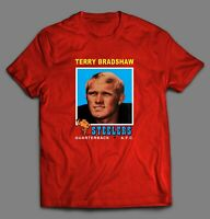 TERRY BRADSHAW PITTSBURGH STEELERS 1971 TOPPS #156 ROOKIE CARD FOOTBALL T-SHIRT