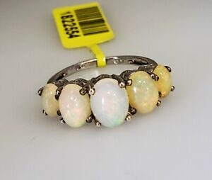 925 Sterling Silver Opal Cabochon 5 Stone Ring Jewelry Gift for Women Size 6
