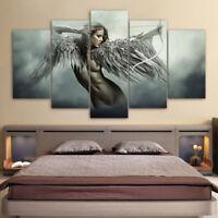 Fantasy Angel Warrior Wing Anime Girl 5 Panel Canvas Print Wall Art Home Decor