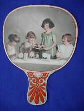 Rare Vintage Antique Hand Held Fan, Early 1900s: Girls Dessert Party on Paper