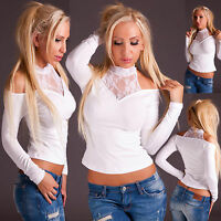 New Sexy Women White Top Clubbing Shirt Ladies Party Blouse Size 6 8 10 UK S M