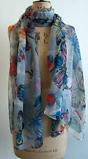 Beautiful ladies butterflies pattern multi colour feminine scarf boho very large