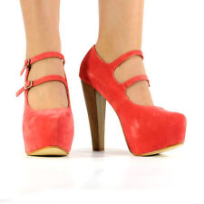 NEW SUEDE HIGH HEEL CONCEALED PLATFORM PARTY OUT SHOES STRAPS LADIES BUCKLE BLOC
