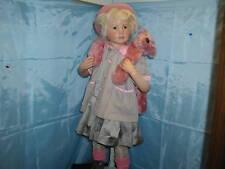 "Hildegard Gunzel 38"" Wax over Porcelain Artist Doll Nora & Teddy Bear MIB #7/20"
