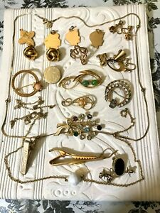 Lot of Mostly Wearable Gold Filled Vintage Jewelry 12K 14K