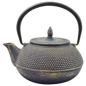 Ja-unendlich Cast Iron Teapot with Stainless Steel Infuser - Arare Blue / Gold