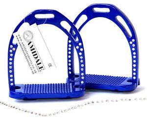 JINN STIRRUPS HORSE RIDING LIGHT & DURABLE ALUMINIUM WITH 44 CRYSTALS BLUE COLOR