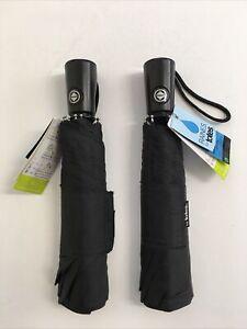 2 Raines Totes Auto Open Close Umbrella Large Coverage Black Mini Compact