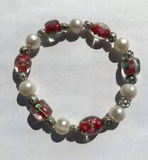Flex Armband mit grossen Suesswasser Perlen rot