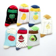 Fashion Women Cotton Fruit Jacquard Socks Casual Striped Ankle Socks Hosiery New