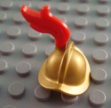 LEGO Metallic Gold Conquistador Minifig Minifigure Helmet Red Plume