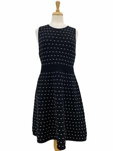 Ann Taylor Petite Women's Shift Dress Black Sleeveless Elastic Waist Size Large
