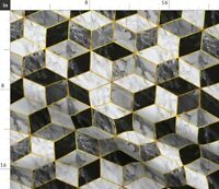 Gold And Marble Modern Geometric Gilded Cubes Fabric Printed by Spoonflower BTY