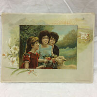 "Vintage Victorian Trade Card Easter Greeting Lion Coffee 7"" X 5 1/4"""