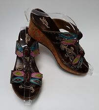 Spring Step Shoes Sandals Brown Multi-Color Cork Wedge Heels Size US 9 / EU 40
