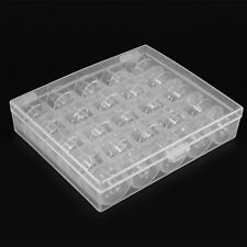 Clear Box With 25 Empty Bobbins For Janome Brother Singer Elna Bobbin Case Spool