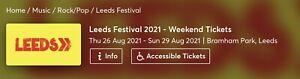 Leeds Festival Weekend Camping Ticket 2021