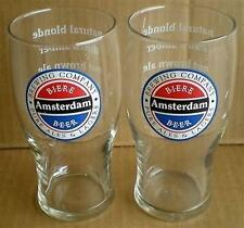 BEER DRINKING GLASS TALL AMSTERDAM NATURAL BLONDE DUTCH AMBER NUT BROWN ALE SET