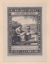Ex Libris Bookplate for Isabella Lincoln Whittier by Sidney L. Smith 1908