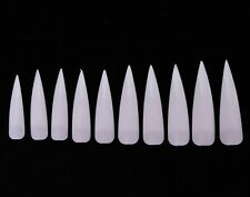 50pc Claw Nails Stiletto Tips with Divot False Fake Fingernails Long Clear White