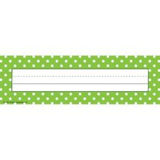 Lime Polka Dots Flat Name Plates Teacher Created Resources TCR4798