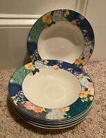 """Christopher Stuart FRENCH BROCADE 9 1/2"""" Rimmed Soup Bowls Set of 6"""