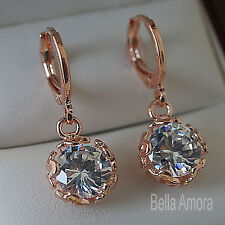 Earrings with Round Swa Crystal -Uk 214 18K 18ct Rose Gold Plated Dangle Drop