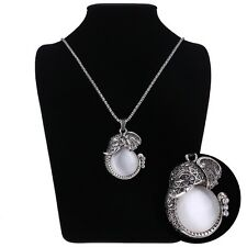 Charm Fashion Big Gemstone Elephants Pendant Sweater Chain Retro Silver Necklace