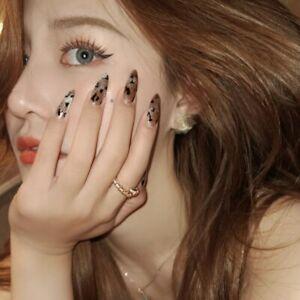 Leopard Cat Eye Press On Nails Artificial False Nail Tips Stiletto Fake Nails