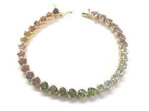 Herz Form Mehrfarbig Saphir Tennis Armband 14Kt Gelbgold 16.00Ct