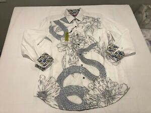 NWT $298.00 Robert Graham Men Burns 2.0 Buttondown White Snake Embroidered LARGE