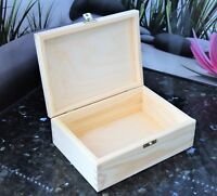 PLAIN Wooden Box Storage Decoupage Keepsake with lid and clasp 22x16 cm PINE