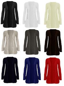 New Ladies Pocket Long Sleeve Cardigan Womens Top 8-14