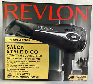 Revlon Retractable Pro Hair Dryer Diffuser 1875 Watts Ceramic Coating RVDR5018