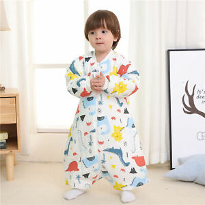 CARTOON PRINT TODDLER BABY SPLIT SLEEPING BAG ANTI KICK SOFT WARM PAJAMAS FADDIS
