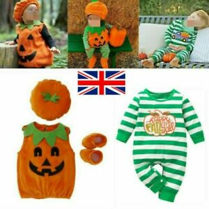 Baby Toddler Girls Boys Halloween Pumpkin Costume Romper Dress Shoes Hat Outfit